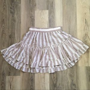 NWOT Anthropologie/MISA Ruffle Stripe Linen Skirt